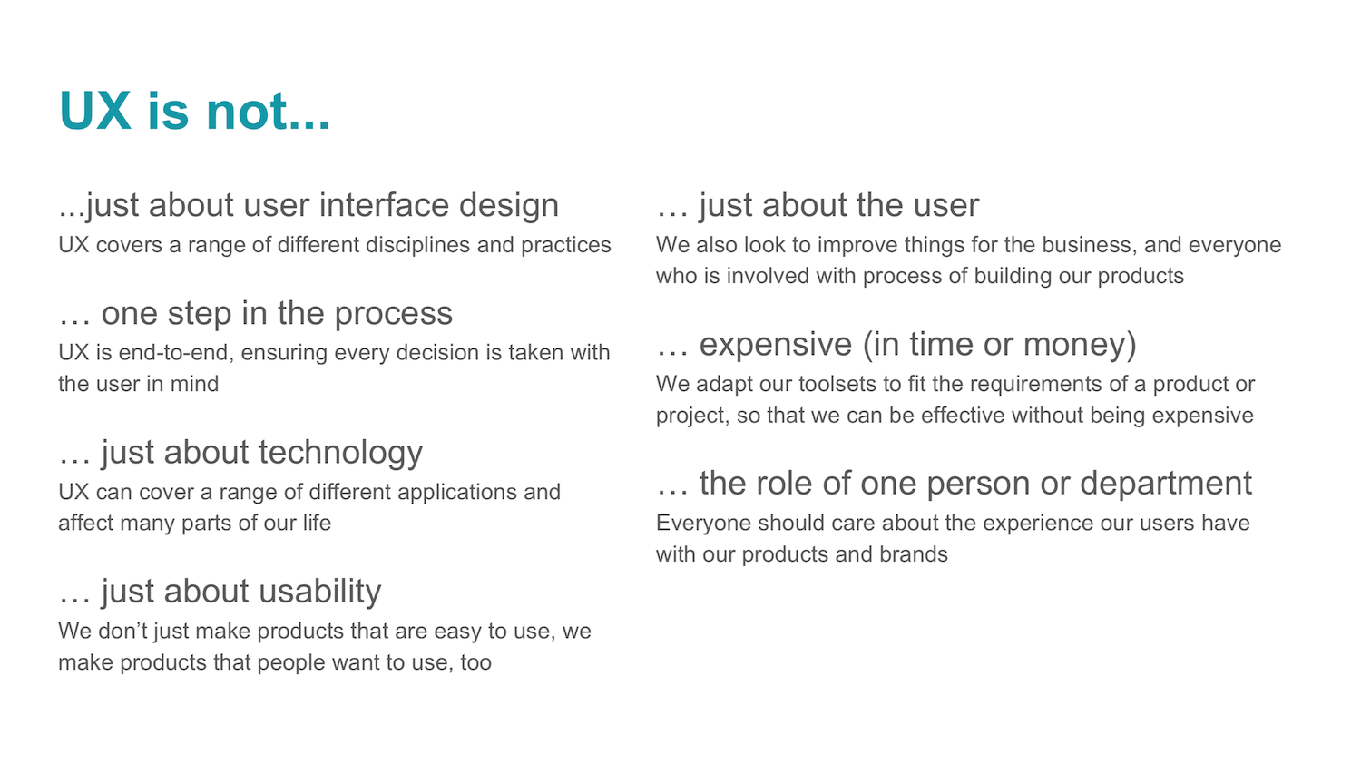 Slide from the what is UX presentation