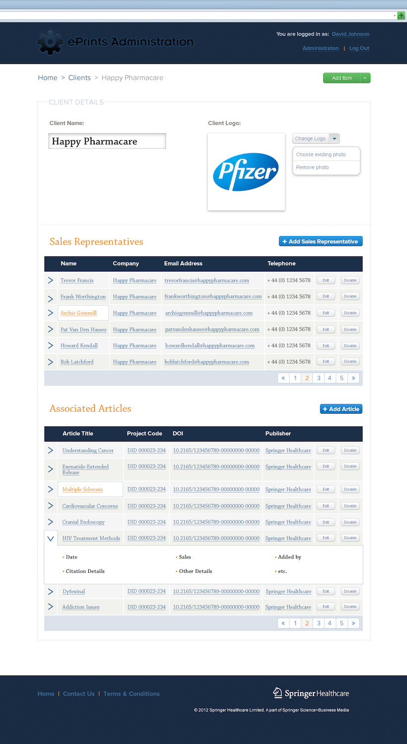An example screen design from the MedEngine product, showing an overview of sales reps and products on offer