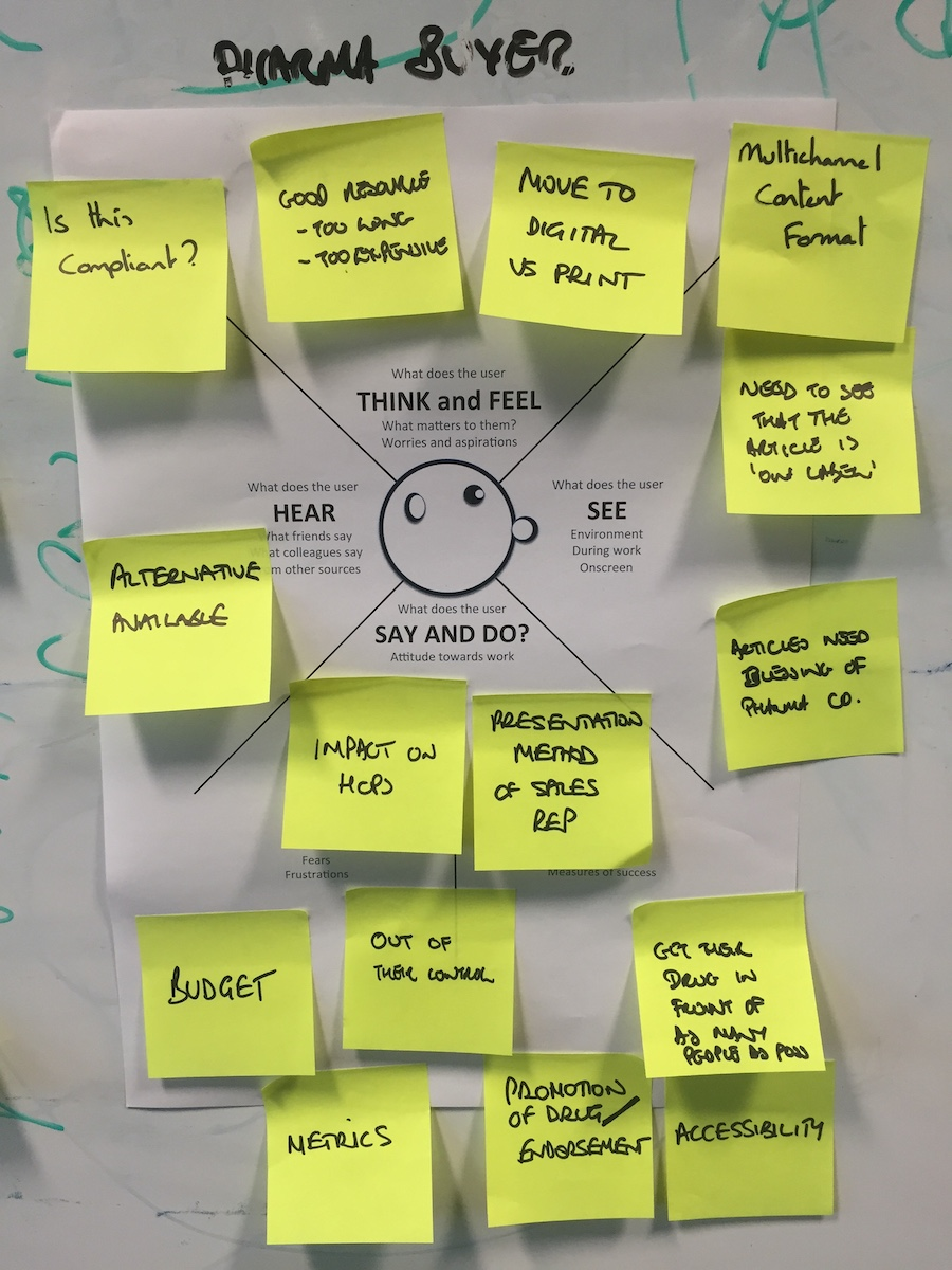 Using an empathy map to help stakeholders understand the standpoint of a specific user types