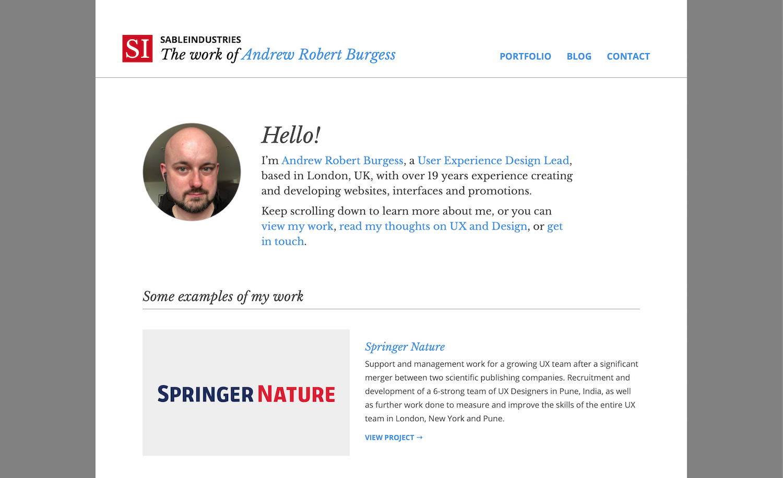 The homepage of SableIndustries - the work of Andrew Robert Burgess